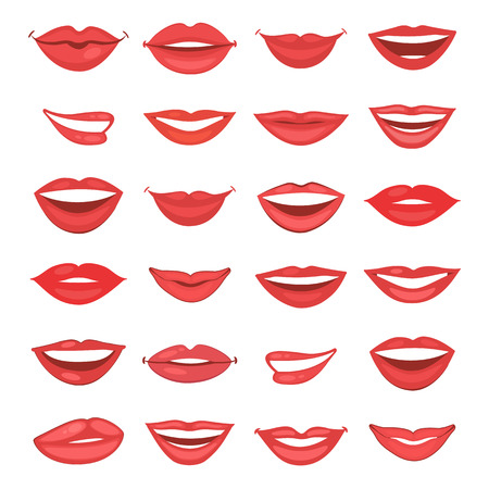 Beautiful shiny female lips collection in vector format