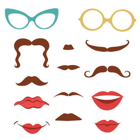 Party set  with mustaches, lips, eyeglasses design elements  in vector format Vector