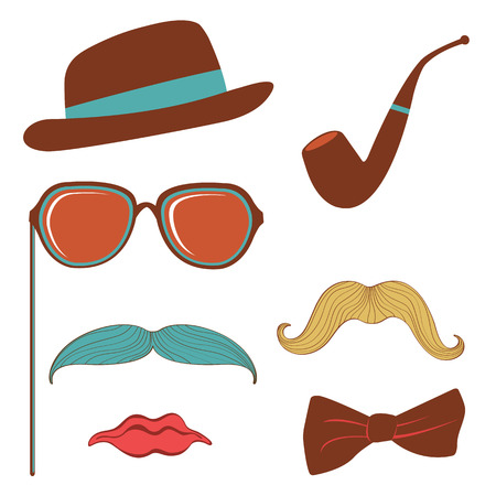 fake: Colorful mustache party elements collection in vector format Illustration