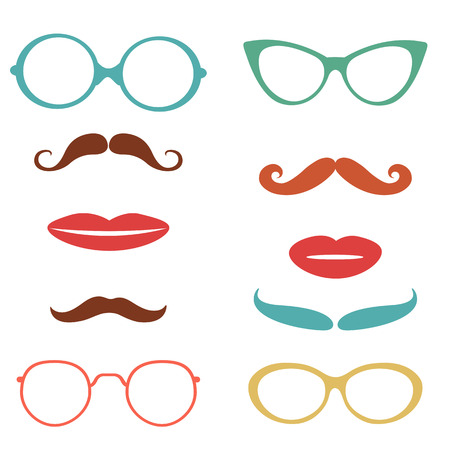 props: Party set  with mustaches, lips, eyeglasses design elements  in vector format Illustration