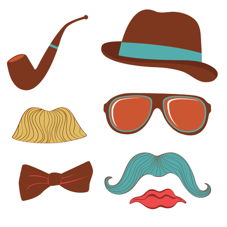 Colorful mustache party elements collection in vector format Vector