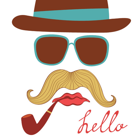 with colorful mustache party elements in vector format Vector