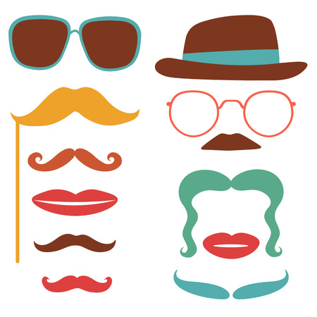 joke glasses: Party set with mustaches, lips, eyeglasses in vector format Illustration