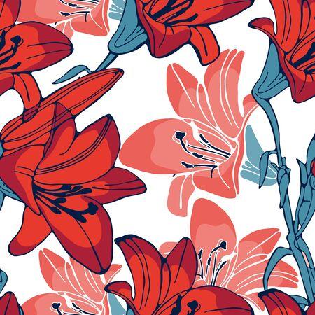 lilly: Elegant seamless lilly flowers pattern. Vector illustration Illustration
