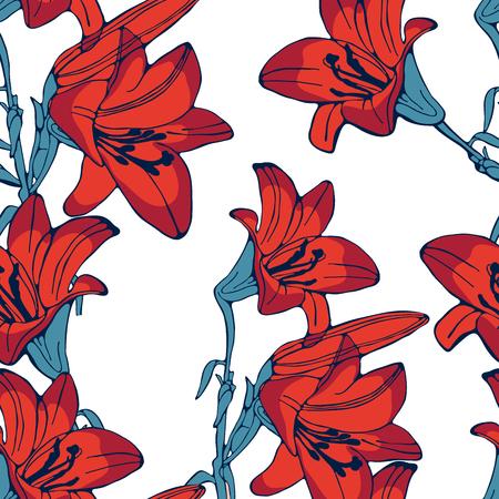 lilium: Elegant seamless lilly flowers pattern. Vector illustration Illustration