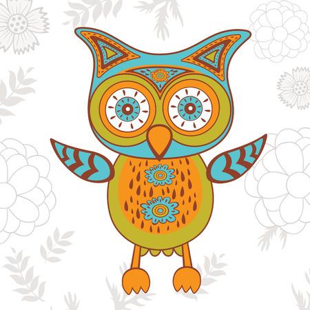 Cute illustration of bright owl character. Vector illustration Vector