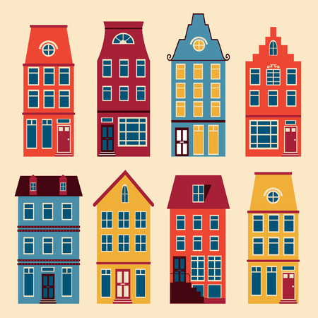Cute Amsterdam houses colorful set. Vector illustration