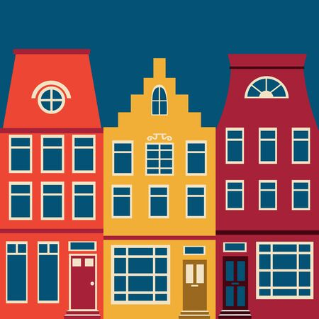 row houses: Cute Amsterdam houses colorful set. Vector illustration