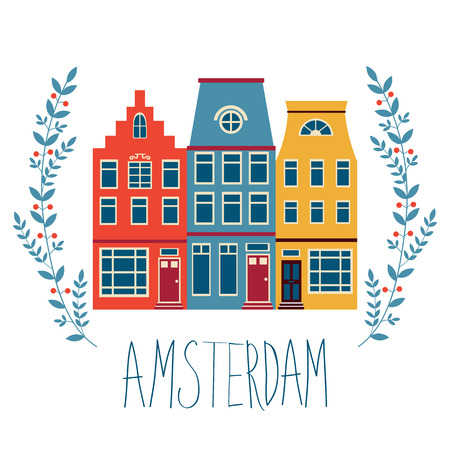 iconic architecture: Cute Amsterdam houses colorful set. Vector illustration