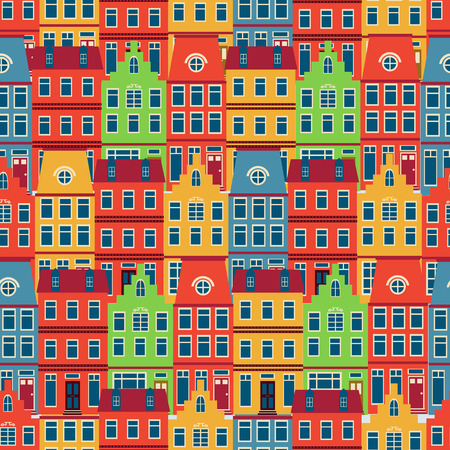 iconic architecture: Colorful Amsterdam houses seamless pattern. vector illustration