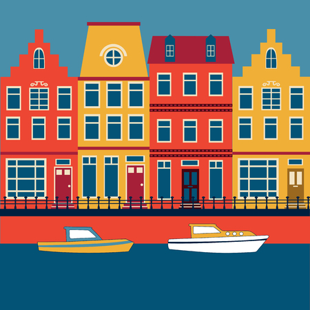 outside the house: Colorful illustration of Amsterdam street with view to a channel