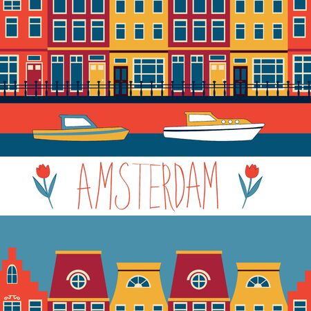 iconic architecture: Colorful Amsterdam streets and channels seamless pattern. Vector illustration