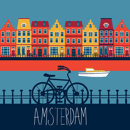 Colorful illustration of Amsterdam street with view to a channel