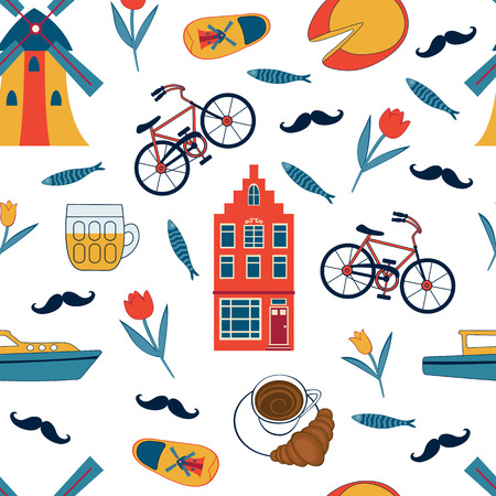 Colorful Amsterdam icons seamless pattern. Vector illustration