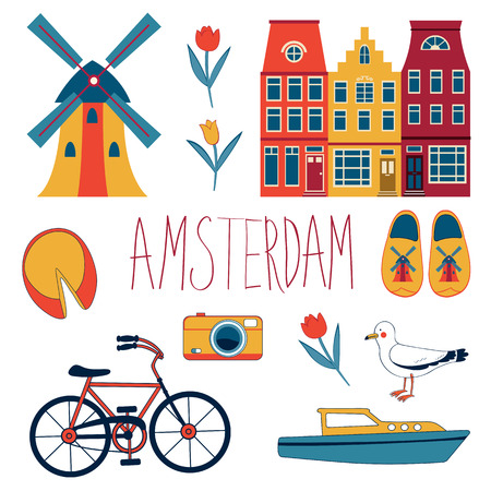 amsterdam: Colorful Amsterdam  related icons set. vector illustration