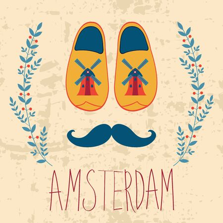 wooden shoes: Colorful Amsterdam composition with shoes and mustache