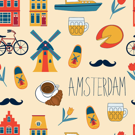 abstract mill: Colorful Amsterdam icons seamless pattern. Vector illustration