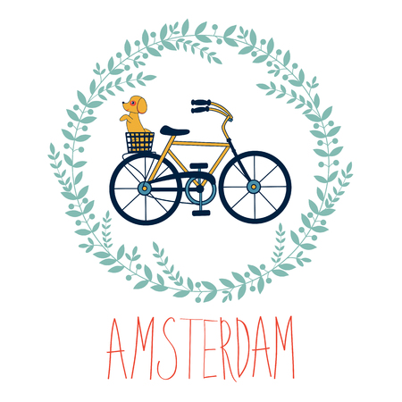 bycicle: Cute Amsterdam card with dog in bycicle basket in floral wreath. vector illustration