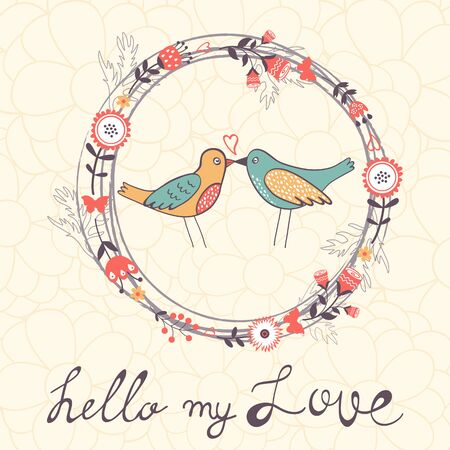 banner of peace: Hello my love card with cute funny birds in vector format
