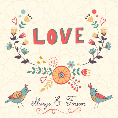 zoo youth: Elegant love card with birds and floral wreath in vector format