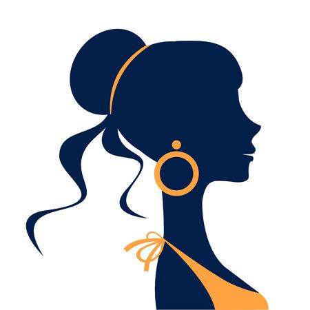aretes: Silueta hermosa mujer elegante en formato vectorial