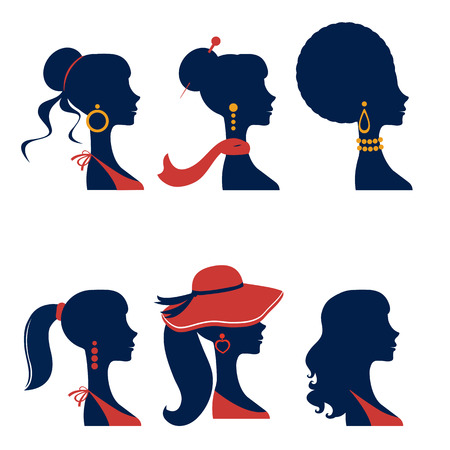 Beautiful  elegant women silhouettes set in vector format