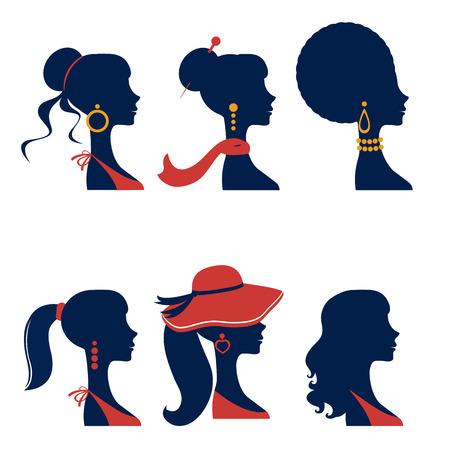 Beautiful  elegant women silhouettes set in vector format
