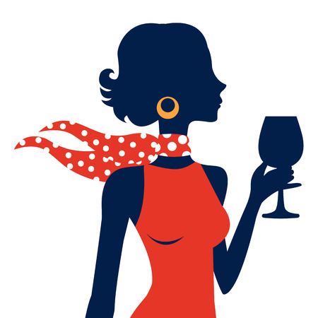 cocktails: Beautiful  elegant woman silhouette in vector format