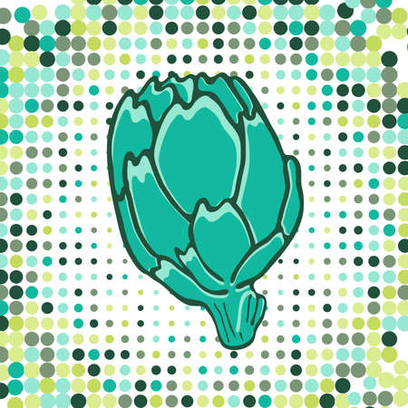 artichoke: A colorful illustration of fresh artichoke with dotted background. vector illustration