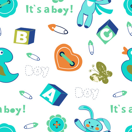 Colorful baby boy seamless pattern Vector