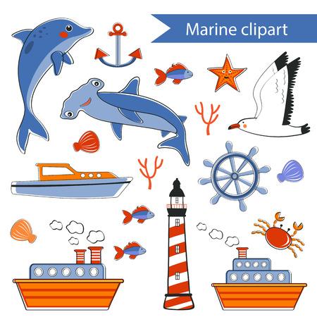 bird clipart: Marine clipart Stock Photo