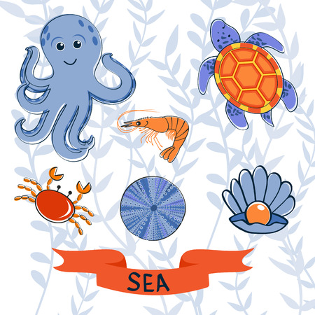 krill: Sea creatures colorful collection Illustration
