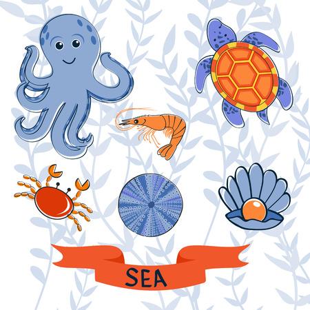 sea creatures: Sea creatures colorful collection Illustration
