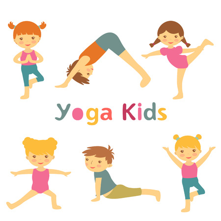 cartoon little girl: Cute yoga kids