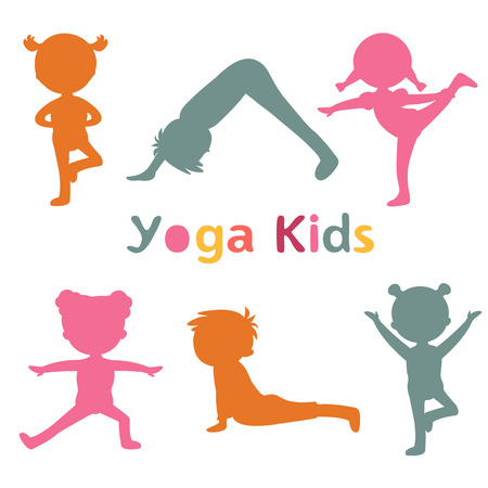 stretching exercise: Cute yoga kids silhouettes