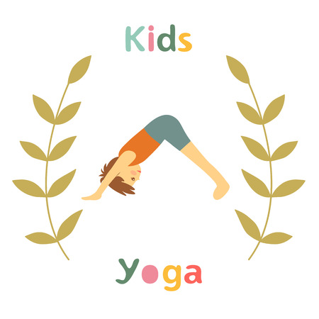 fitness instructor: Cute yoga kids card with little boy doing yoga