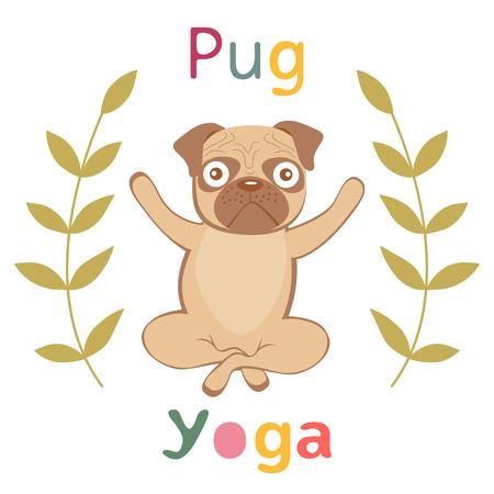 pug nose: An illustration of pug doing yoga
