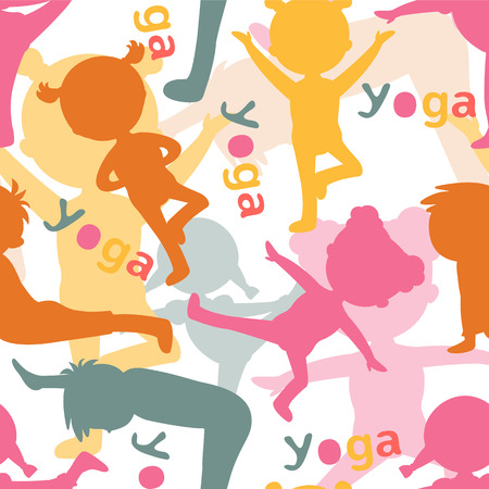 Kids doing yoga silhouettes pattern