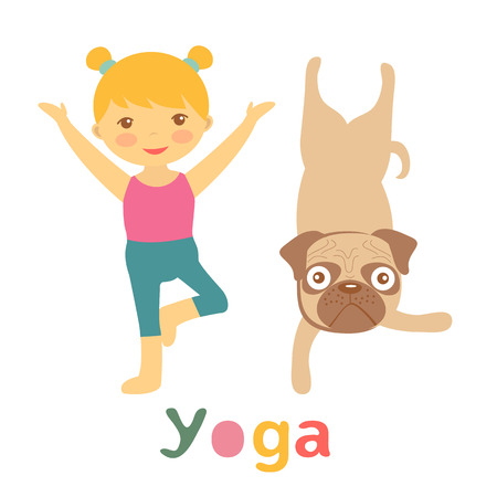 Little girl and pug doing yoga Ilustrace