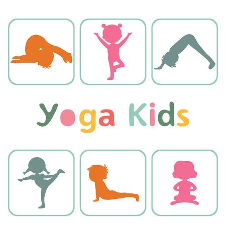 Cute yoga kids silhouettes Vector