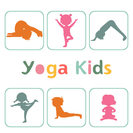 cartoon kids: Cute yoga kids silhouettes