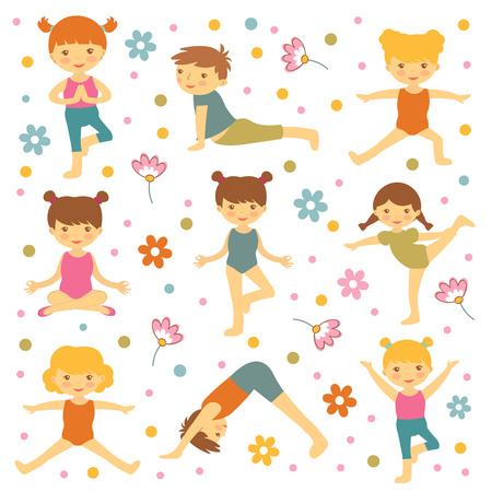 stretching exercise: Cute yoga kids