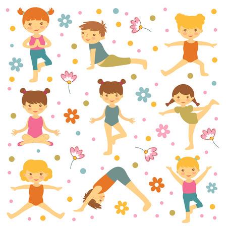 Niños lindos de yoga
