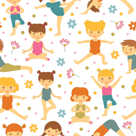 asana: Cute yoga kids  seamless pattern