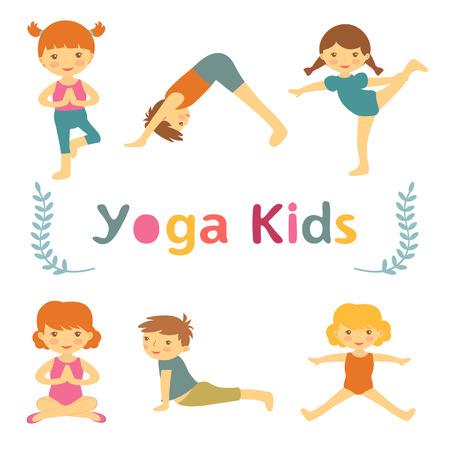 cartoon yoga: Cute yoga kids
