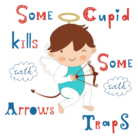 eros: Some cupid kills with arrows some with traps. Vector illustration with cute little cupid Illustration