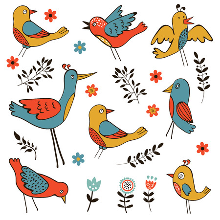 zoo youth: Cute collection of funny birds. Vector illustration Illustration