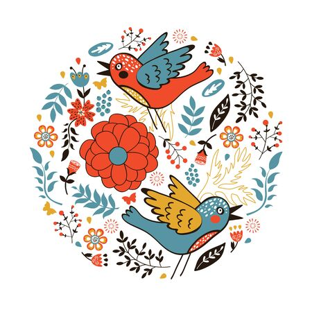 bird illustration: Elegant round composition with birds and flowers. vector illustration