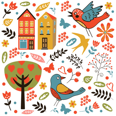 zoo youth: Colorful seamless pattern with birds, flowers and houses. vector illustration