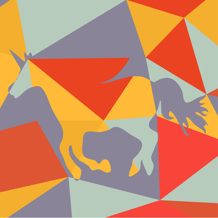 unicorn: Geometrical background with a beautiful running unicorn  horse silhouette Illustration